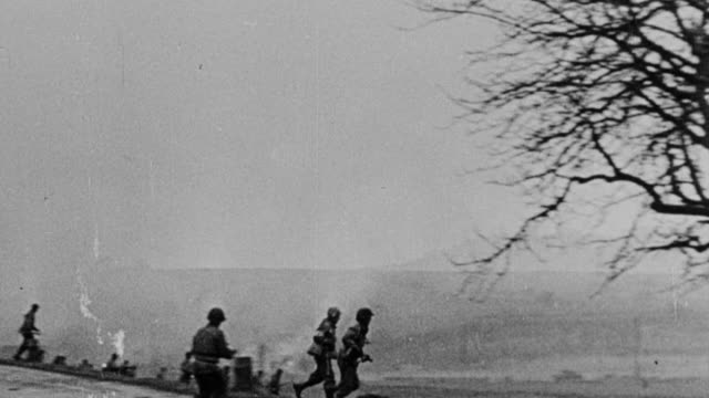 MS Shot of Various scenes of military news reel footage