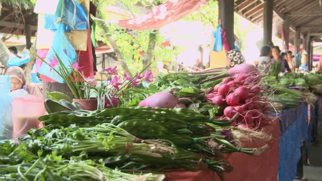MS PAN Shot of vegetables in market / Kota Kinabalu, Sabah, Malaysia
