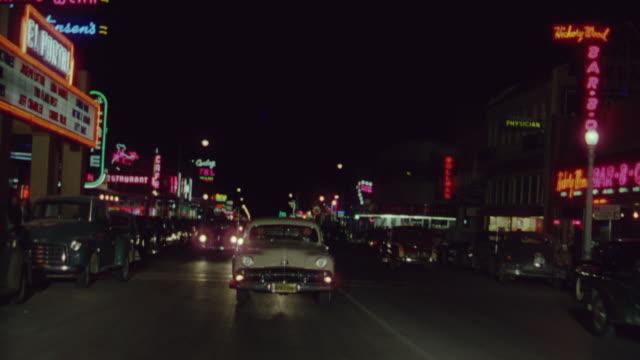 MS POV Shot of vehicle driving down main street in Las Vegas