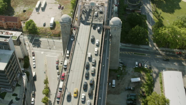 AERIAL MS Shot of vehicles moving on Queensbury  bridge/ New York City