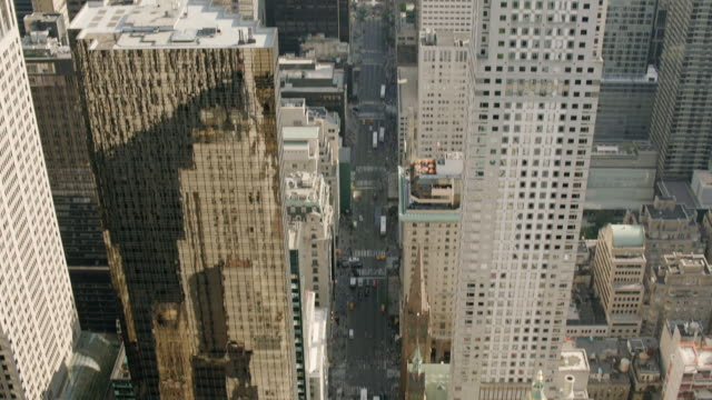 AERIAL MS TU Shot of vehicles moving on road / New York City