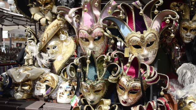 CU PAN Shot of Venetian masks on market / Verona, Veneto, Italy