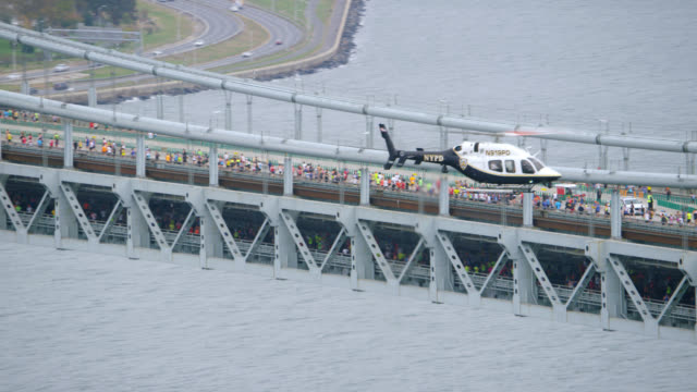'WS ZO PAN AERIAL Shot of Verrazano Narrows Bridge / New York City, United States'