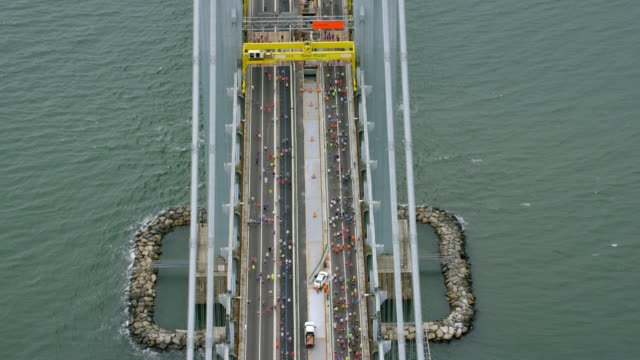 """ws ha aerial shot of verrazano narrows bridge / new york city, united states"" - marathon stock videos and b-roll footage"