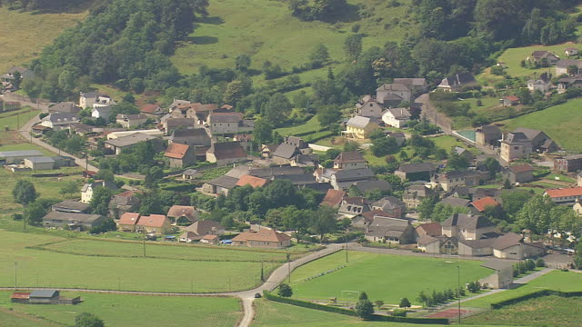 MS AERIAL Shot of vilages near Gave de Pau river / Aquitaine, France