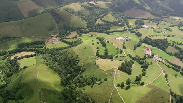 WS AERIAL TD Shot of village and farm fileds and woodeda area / Midi Pyrenees, France