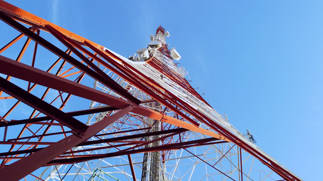 shot of walking under the antenna tower - mast stock videos & royalty-free footage