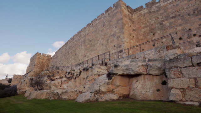 ms shot of wall circling old city / jerusalem, israel - biblical event stock videos & royalty-free footage