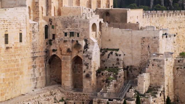 ms shot of wall inside old city / jerusalem, israel - 石材点の映像素材/bロール