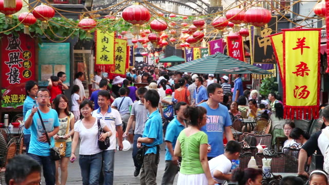ms shot of wangfujing snack street / beijing, china - pechino video stock e b–roll