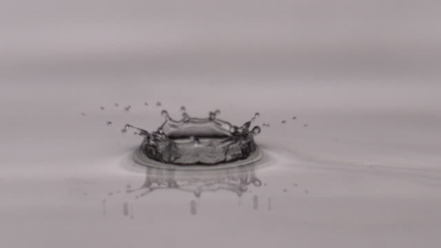 ECU SLO MO Shot of water drop into pool of water / New York, United States