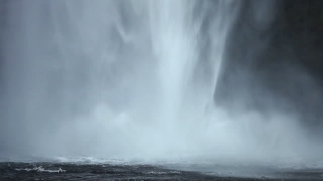 ms shot of water splashing of water fall / iceland   - seljalandsfoss waterfall stock videos and b-roll footage