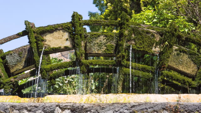 cu shot of water wheel moving with covered by moss / l'isle sur la sorgue, france - water wheel stock videos and b-roll footage