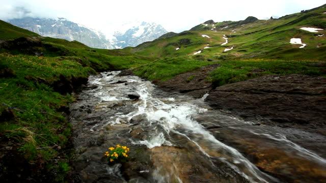 vídeos y material grabado en eventos de stock de toma de cascada en grindelwald bajo jungfrau - estilo de música