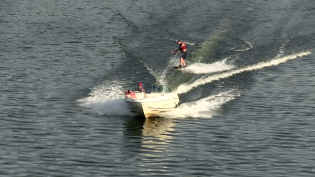 ms shot of watersports on river moselle / sierck-les-bains, lorraine, france - lorraine stock videos & royalty-free footage