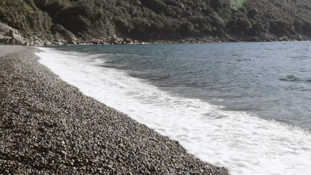 ms shot of waves at pebbles beach, unesco world heritage / gulf of porto, corsica, france - pebble stock videos & royalty-free footage