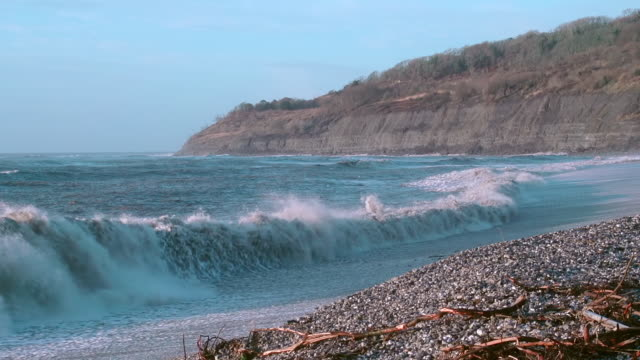 MS Shot of Waves breaking in front of cliffs of Jurassic Lower Lias at Monmouth Beach, Lyme Regis / Newcastle Emlyn, Ceredigion, United Kingdom