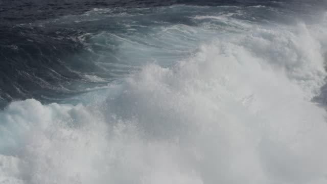 MS PAN SLO MO Shot of waves crashing into rocks with big splash / Waipio, Hawaii, United States