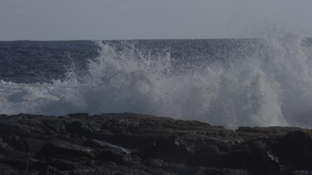 MS SLO MO Shot of waves crashing into rocks with big splash / Waipio, Hawaii, United States