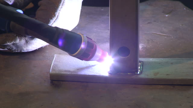 cu shot of welding of stainless steel / konz, rhineland-palatinate, germany - ステンレス点の映像素材/bロール