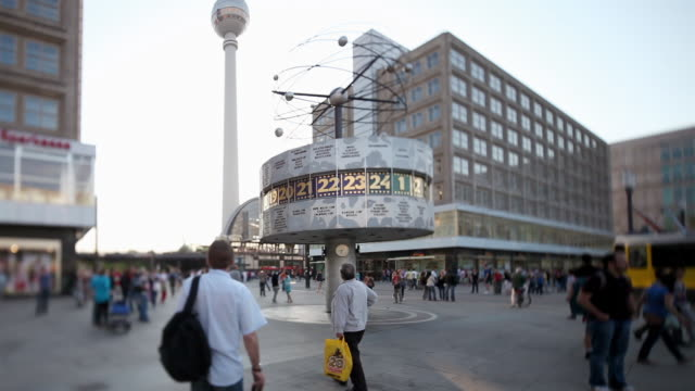 ms shot of weltuhr in germany / berlin, berlin, germany - establishing shot stock-videos und b-roll-filmmaterial