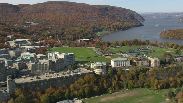 WS AERIAL ZI ZO Shot of West Point Military Academy / New York, United States