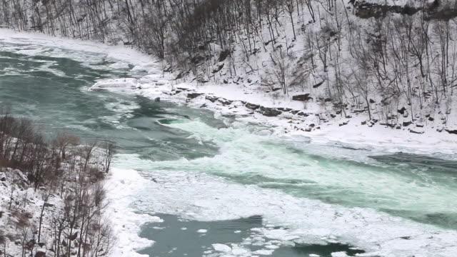 MS Shot of whirlpool on Niagara river in winter / Niagara Falls, Ontario, Canada