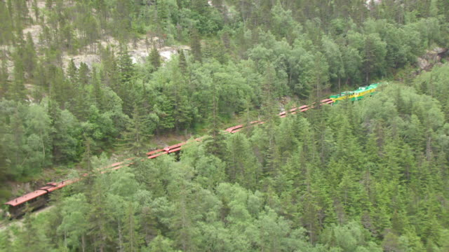 WS AERIAL TS Shot of White Pass and Yukon Route railroad on its way to Skagway / Alaska, United States