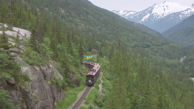vídeos de stock, filmes e b-roll de ms aerial zo shot of white pass train traveling to skagway and pull out to reveal white pass and yukon route railroad / alaska, united states - skagway