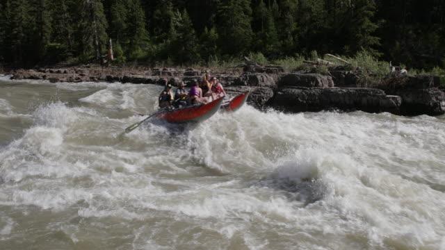 vídeos y material grabado en eventos de stock de ws 4k shot of white water rafters on the snake river - río snake