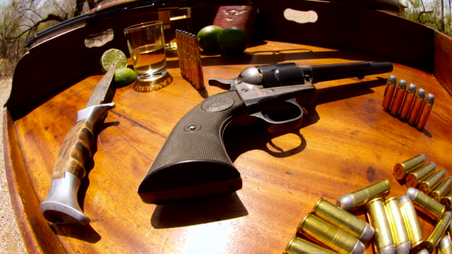 cu tu t/l shot of wild west survival kit / tucson, arizona, united states - handgun stock videos & royalty-free footage