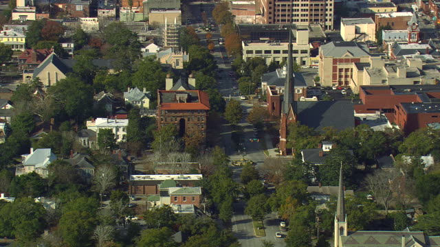 ms aerial shot of wilmington city / north carolina, united states - wilmington north carolina stock videos & royalty-free footage