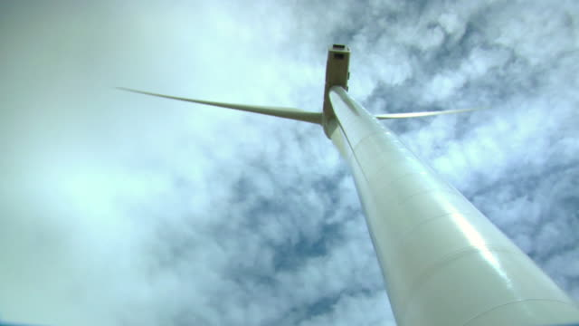 MS Shot of windmill under sky / Maranchon, Guadalajara, Spain