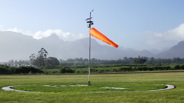 ws shot of windsock at airport / stellenbosch, western cape, south africa - stellenbosch stock videos and b-roll footage