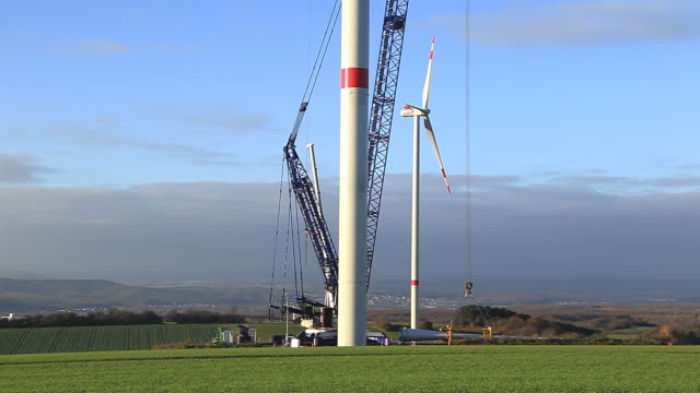 MS Shot of Windturbines in landscape / Kirf, Rhineland Palatinate, Germany