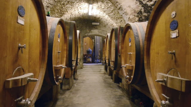 stockvideo's en b-roll-footage met ms shot of wine barrel in wine cellar / castellina in chianti, tuscany, italy - middelgrote groep dingen
