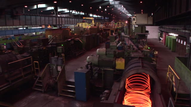 ws shot of  wire rod mill / burbach, saarland, germany  - rod stock videos and b-roll footage