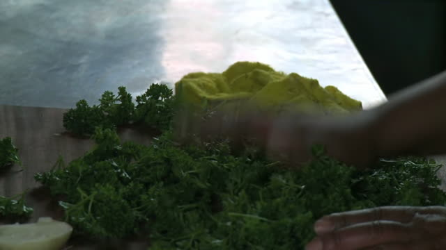 cu slo mo shot of woman drying parsley / western cape, south africa - parsley 個影片檔及 b 捲影像