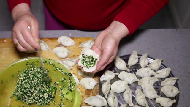 cu shot of woman making dumplings in kitchen / xian, china - ダンプリング点の映像素材/bロール