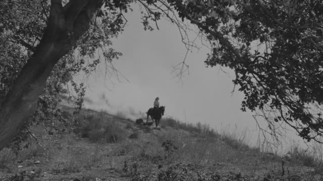 stockvideo's en b-roll-footage met ms ts shot of woman riding horse over hill and dirt road with talking road person in countryside going away - alleen één mid volwassen vrouw