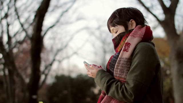 MS Shot of woman using smartphone at park / Suginami, Tokyo, Japan