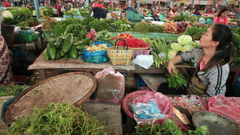 ms shot of woman vegetables traders and customers in market / vientiane, laos - one mid adult woman only stock videos & royalty-free footage