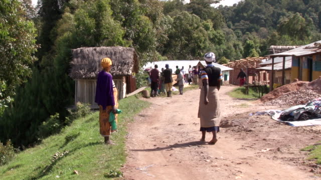 ms shot of  woman walking on dirt road with people and houses in distance / bwindi, kabale, uganda - wiese stock videos & royalty-free footage