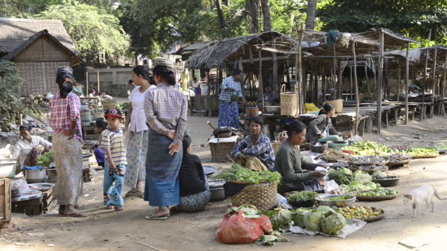ws shot of women selling vegetables on myinkaba market / bagan, mandalay division, myanmar - pagan stock-videos und b-roll-filmmaterial