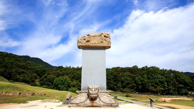 vídeos de stock, filmes e b-roll de shot of wonjongdaesahyejintapbi(memorial stone, korea treasure 6) and tree at godalsaji temple site - representação de animal