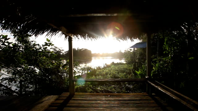 POV shot of wooden dock with benches at sunset over jungle river.
