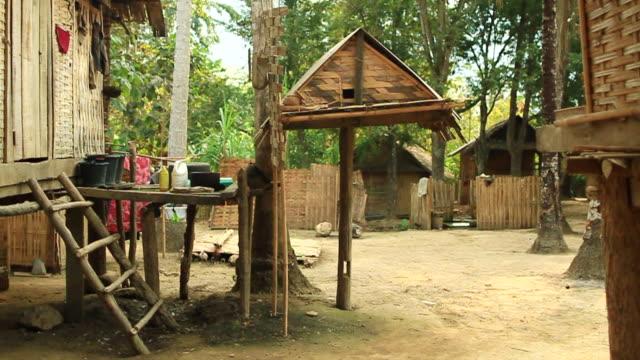 vídeos y material grabado en eventos de stock de ms slo mo shot of wooden primitive looking structures with woman passing by / muang ngoi, luang prabang, laos - cuatro animales