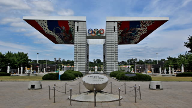 ms t/l shot of world peace gate in seoul olympic park / seoul, south korea - the olympic games stock videos & royalty-free footage