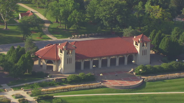 MS AERIAL Shot of Worlds Fair Pavilion in Forest Park / St Louis, Missouri, United States