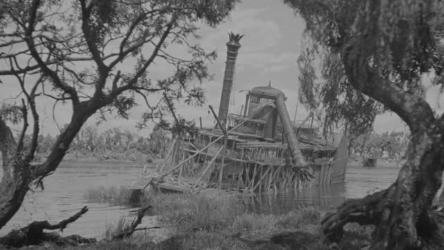ms shot of wrecked and abandoned riverboat at near trees and ground - shipwreck stock videos and b-roll footage